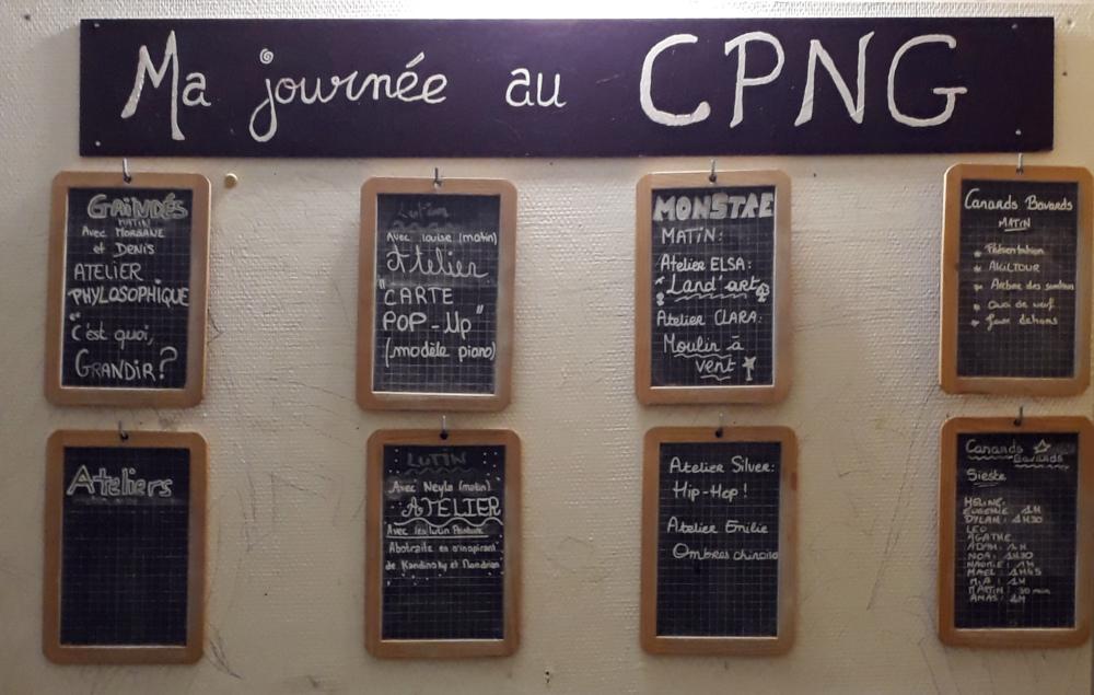 Tableau du programme des activités au CPNG